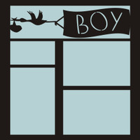 Stork with BOY Banner - 12x12 Overlay