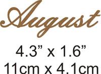 August - Beautiful Script Chipboard Word