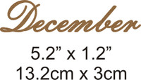 December - Beautiful Script Chipboard Word