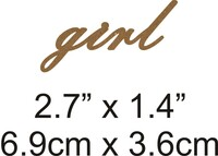 Girl - Beautiful Script Chipboard Word