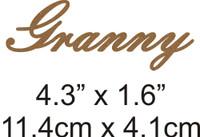 Granny - Beautiful Script Chipboard Word