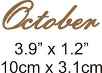October - Beautiful Script Chipboard Word
