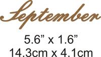 September - Beautiful Script Chipboard Word