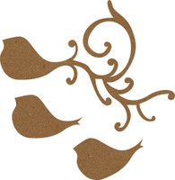 Bird Flourish Small - Chipboard Embellishment