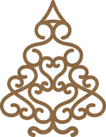 Christmas Swirl Tree Small - Chipboard Embellishment