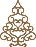 Christmas Swirl Tree Small - Chipboard Embellishment