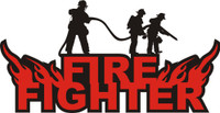 Firefighter with Flames - Die Cut