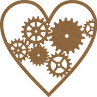 Steampunk Heart with Gears - Chipboard Embellishment