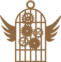 Steampunk Bird Cage with Gears - Chipboard Embellishment