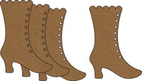 Victorian Boot Small (4 pack) - Chipboard Embellishment