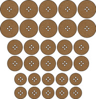Buttons - Round (30 Pack) - Chipboard Embellishment