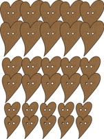 Buttons -   Heart (30 Pack) - Chipboard Embellishment