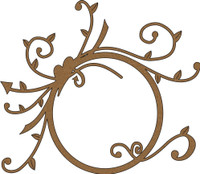 Frame with Heart and Swirls - Chipboard Embellishment
