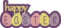Happy Easter with Eggs - Die Cut