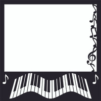 Wavy Keyboard with Musical Notes - 12x12 Scrapbook OL