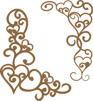 Heart Swirl Border - 2 Pack Chipboard Embellishment