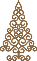 NEW  Swirl Christmas Tree Small - Chipboard Embellishment
