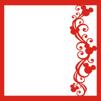 Mouse Ears Flourish Red Right _ 12 x 12 Scrapbook OL