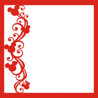 Mouse Ears Flourish Red Left - 12 x 12 Scrapbook OL
