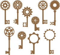 Steampunk Keys Set 10 pc - Chipboard Embellishment