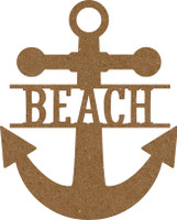 "Anchor with text ""Beach"" - Chipboard Embellishment"
