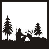 Deer Hunter Scene - 12 x 12 Scrapbook Overlay