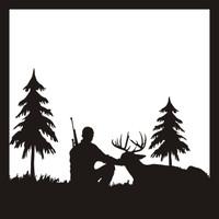 Deer Hunter Scene - 12 x 12 Scrapbook Overlay