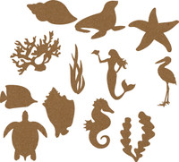 Treasures of the Sea - Chipboard Embellishments 24 pieces total - 2 of each