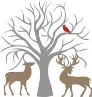 Tree, Cardinal & Deer - Laser Die Cut
