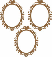 Frame Heart Oval 3 pack  - Chipboard Embellishment