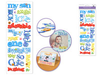 Paper Craft Stickers: 11.5cmx32cm Puffy Sentiments MY SON