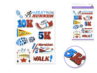 "Handmade Sticker: 4.37""x6.37"" 3D Big Icons MARATHON RUNNER"