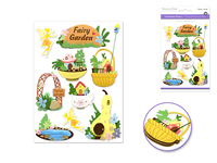 "Handmade Sticker: 4.37""x6.37"" 3D Big Icons FAIRY GARDEN"
