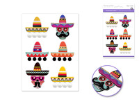 "Handmade Sticker: 4.37""x6.37"" 3D Big Icons SOMBRERO"