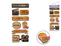 "Handmade Sticker: 3""x6.5"" 3D Kraft Paper Elements MOVIE NIGHT"