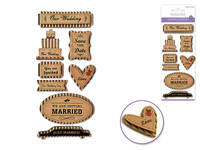 "Handmade Sticker: 3""x6.5"" 3D Kraft Paper Elements OUR WEDDING"