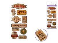 "Handmade Sticker: 3""x6.5"" 3D Kraft Paper Elements CHEERS"