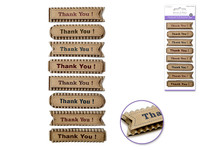 "Handmade Sticker: 3""x6.5"" 3D Paper Sentiment Kraft Tags THANK YOU!"