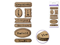 "Handmade Sticker: 3""x6.5"" 3D Paper Sentiment Kraft Tags  CHARACTER TRAITS 2"