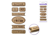 "Handmade Sticker: 3""x6.5"" 3D Paper Sentiment Kraft Tags FRIENDS FOREVER"