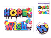 "Handmade Sticker: 6""x 5"" 3D Word Art HOPE/WISH"