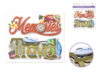 "Handmade Sticker: 6""x 5"" 3D Word Art MEMORIES/TRAVEL"