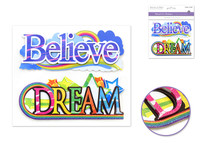 "Handmade Sticker: 6""x 5"" 3D Word Art BELIEVE/DREAM"
