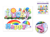 "Handmade Sticker: 6""x 5"" 3D Word Art LUCKY/HAPPY"