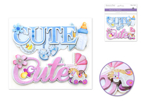 "Handmade Sticker: 6""x 5"" 3D Word Art CUTE"