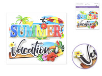 "Handmade Sticker: 6""x 5"" 3D Word Art SUMMER/VACATION"