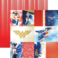 Wonder Woman Tags Double Sided Foil Scrapbook Paper 12 x 12