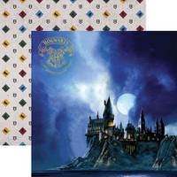 Harry Potter Hogwarts at Night Double Sided Foil Scrapbook Paper 12 x 12