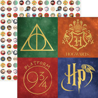 Harry Potter Icons Double Sided Foil Scrapbook Paper 12 x 12