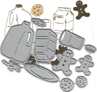 Dies...to die for metal cutting craft die Milk and Cookies - Gingerbread Chocolate chip